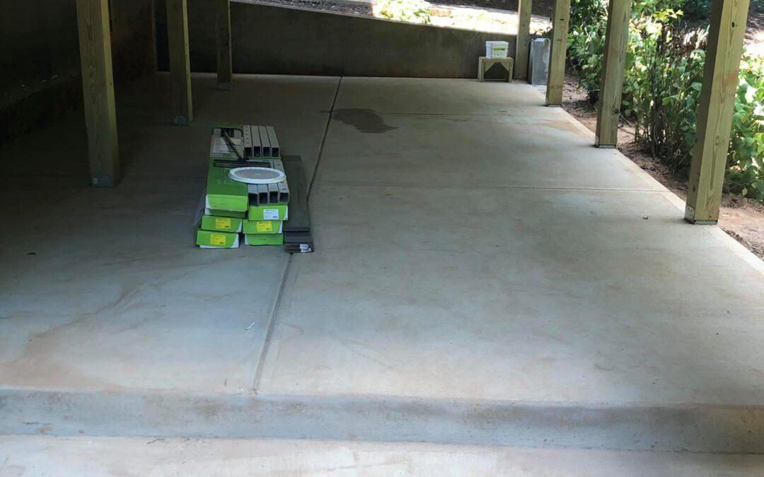 Deck, concrete pad, trex decking and trex under decking