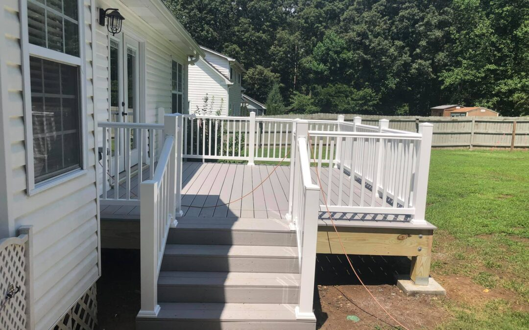 Built deck with Trex decking and Trex rails